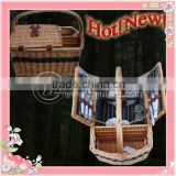 Cream Color Eco-friendly Bamboo Picnic basket for 4Persons