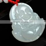 Unique Natural chalcedony agate Chinese Jade Icy Pendant Maitreya Buddha