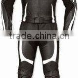 DL-1309 Leather Motorbike Suit, Black Leather Motorcycle Suit