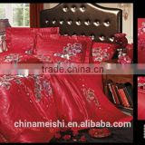 china factory wholesale red rose jacquard silk flat sheet duvet cover pillow case bedroom set for wedding