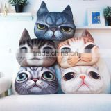 creative lovely cartoon animal 3D printing lifelike Meow star people big face cat super soft short plush car sofa cushion pillow