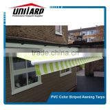 Fantastic PVC striped fabric offering shade inside and shelter outside by Deans Blinds & Awnings