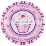 Girl's Cupcake 1st Birthday Dessert Plates, 7 inch, pack of 8
