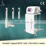 2016 New arrival vaginal hifu system vaginal beauty machine with 1.5,3.0,4.5mm 3 transmitters