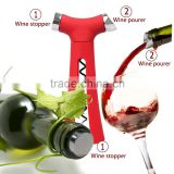 4 in 1 Wine Opener-Screwpull Corkscrew with Pour Spout, Bottle Stopper, Wine Foil Cutter