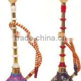 Glass beaded brass smoking hookah