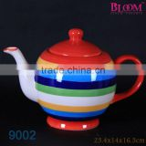Wholesale colorful stripe ceramic tea pot