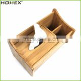 Bamboo Tissue Box Holder with Organizer Holder/Napkin Holder Paper Holder/Homex_FSC/BSCI Factory