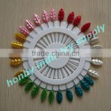 Special design 55mm size nickel plated assorted colors leaf pearl head pins for Christmas decoration