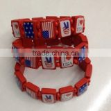 USA nation flag logo beads wood bracelets jewelry custom stretch wooden bead bracelets for promotion gifts