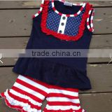 Factory Latest Baby Girls 4th Of July Ruffle Summer Outfits Navy Blue Bids Top Blouse Sets Girls Summer Vacation Outfits
