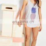 Cotton-blend Graphic print racerback tank big girls curved hem tank