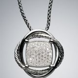 Sterling Silver DY Inspired 14mm Pave Diamond Infinity Necklace