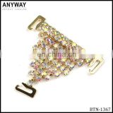 Decorative new spiral small colorful rhinestones metal shoe clip shoe accessory for flip flop