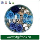 High end preserved fresh flowers paper round boxes flower
