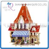 Mini Qute 3D Wooden Puzzle French Flower Shop architecture famous building Adult kids model educational toy gift NO.F126