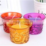 bronzing glass tealight candle holder with wax glass votive candle holder