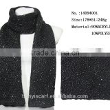 New Latest Knit Scarf with Logo Factory Custom Made Sequin Acrylic Long Scarf for Winter
