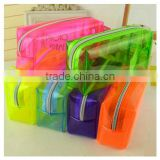 Wholesale korea creative fashion simple pencil storage bag fluoresecent PVC stationary bag