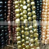 green dyed baroque shell real pearl strand