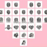 Vnistar Antique silver plated zinc alloy flower European beads, spacer beads various style fit for European bracelet wholesale