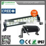 72W LED Light Bar CE Rohs Approved China Auto Accessory Super Brightness 9-32V Cree Offroad LED Light Bar From Queensun DRLB72