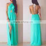 Sexy Deep V Neck Sleeveless Long Maxi Dress Halter Hollow Out Backless Side Split Dress For Party