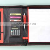 Leather Compendium Folder / customized conference folder / business zipper pu folder portfolio