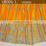 2015 latest design of african silk velvet lace fabric for evening dresses VB006-1 orange