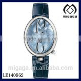 oval case genuine leather strap elegant women's automatic watch*MOP dial blue leather strap auto watch for women