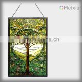 2013 hot sale tiffany art tree of life led back light wall hanging of glass silk screen print