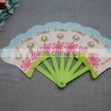 colorful promotional plastic 7 foldable hand fan pp material advertising printed folding fan