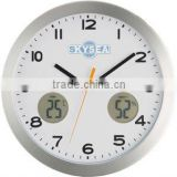14 inch metal wall clock, luminous clock, round clock with weather station