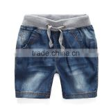 OEM service supply type cotton Denim boy jeans shorts Indigo Washed Kid children half pants