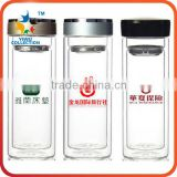 Promotional BPA free double wall water bottle loose leaf tea infuser glass bottle with bamboo lid