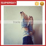 V-972 Stylish Barefoot Sandals Crochet Cotton Foot Jewelry Anklet Dancing Bracelet Ankle Chain Foot Jewelry