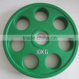 colored 7 holes green olympic rubber barbell plates for gym use