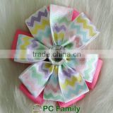 High quality chevron printed ribbon bead hair bow with clips