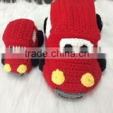 Handmade knitted baby toys-vehicle series. Image