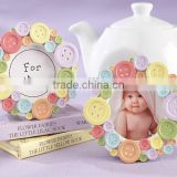 Baby Shower Favors Cute as a Button Round Photo Frame