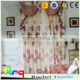 Curtain, cushion cover, bedding fabric with flower printed on linen