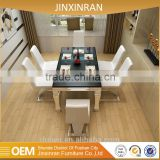 2016 dubai modern black tempered glass dining table and chair