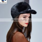 TD1007 Casual Outdoor Style Real Pelt White Mink Fur Peaked Gril's Hat with Adjustable Function