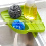 Suction Cup Bathroom Kitchen Sink Corner Storage Rack Plastic Soap Sponge Holder / Sink Triangle Corner Shelf