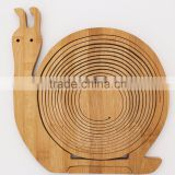 Snail Trailer Spiral-cut Hanging Handle Shaped Bamboo Wood Foldable Carved Fruit Serving Picking Basket