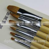 6pcs/pack New Artist Transparent Handle Paint Brush Set Artist Nylon Oil Painting Brushes Art