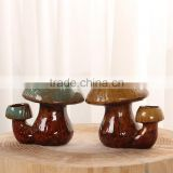 New design rustic decor mushroom shape bonsai pottery pot