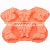 Food Grade Six Cavity Butterfly Design Non Stick Jelly Pudding Mooncake DIY Mold Silicon Soap