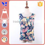 Cutout neckline beautiful floral fashion chiffon vest lady top apparel
