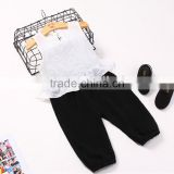 Wholesale children's boutique clothing sets vest shirt pure color muslin pants
